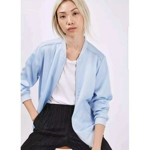 TOPSHOP Women Size US 2 Blue Satin Bomber Jacket